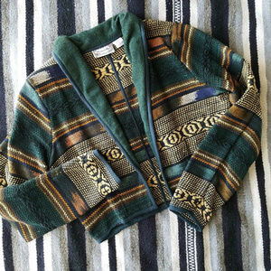Vtg Boho Aztec Cropped Blazer